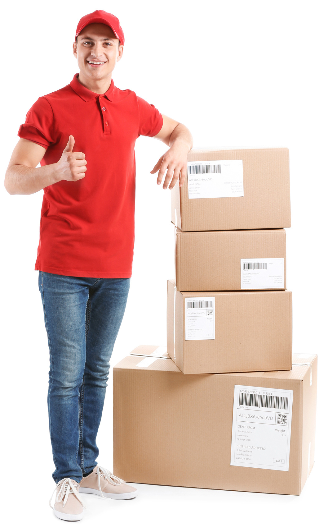 Delivery man with 4 packages - Delivery to your home