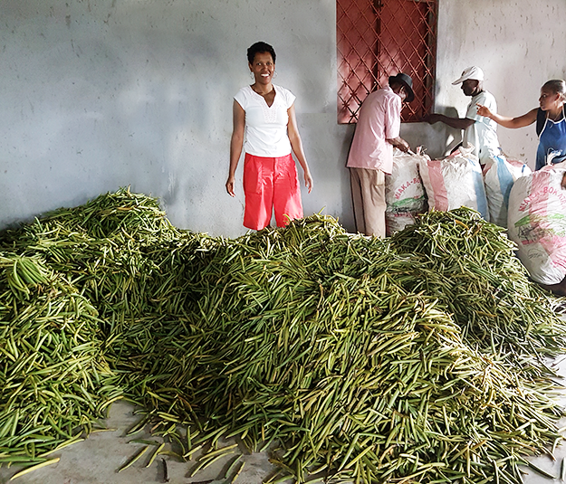 Lucia in front of the green vanilla pods LAVANY coming directly from Betavilona